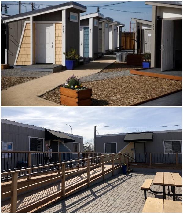 Территория комплекса для бездомных огорожена и имеет общие зоны для прогулки и отдыха («Bridge Housing Community», США). | Фото: bangphotos.smugmug.com/ homefirstscc.org.