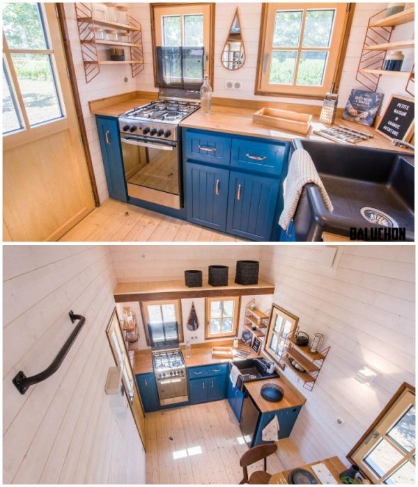 В мобильном крошечном доме Solaris обустроили просторную кухню (Solaris).   Фото: newatlas.com.