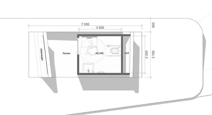 Схема самого дорого туалета мира, расположенного на краю фьорда на западном побережье Норвегии (Зона отдыха Ureddplassen, Норвегия). | Фото: lifter.com.ua.