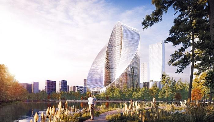 Инновационный небоскреб станет главным объектом в строящемся научном городке в Ханчжоу (концепт O-Tower, BIG). | Фото: mymodernmet.com.