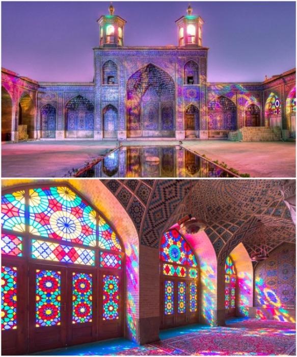 Потрясающая иранская «Розовая мечеть» является яркой достопримечательностью общемирового значения (Nasir al-Mulk, Иран). | Фото: mazhab.kz.