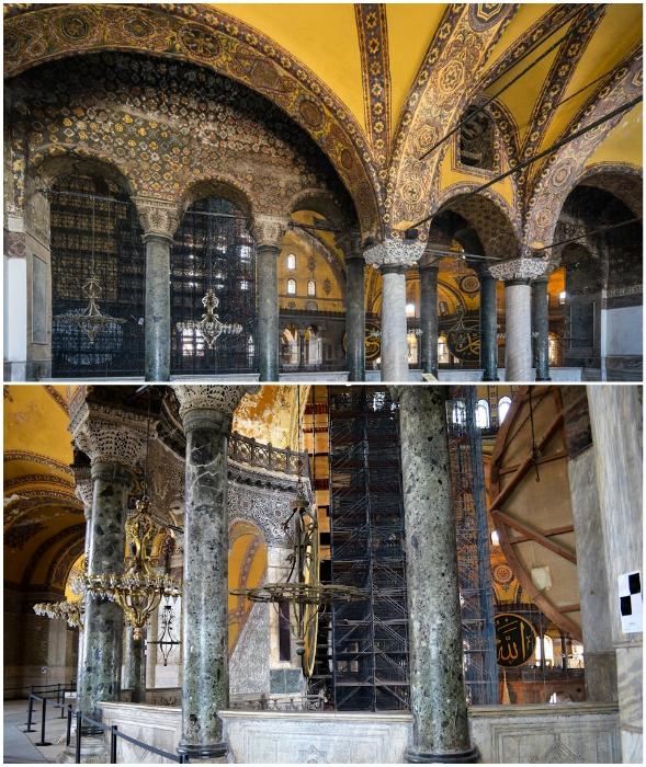 Красота южной галереи даже спустя тысячелетие впечатляет и радует глаз (Собор Айя-София, Стамбул).