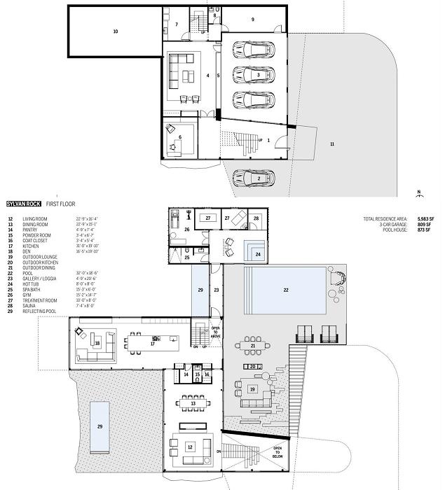 План-чертеж 1 и 2 этажей загородного дома (концепт Sylvan Rock).