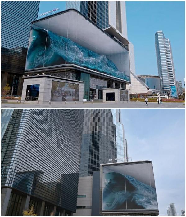 WAVE (Волна) – самая большая анаморфная иллюзия в мире (Сеул).   Фото: youtube.com/ © d'strict.