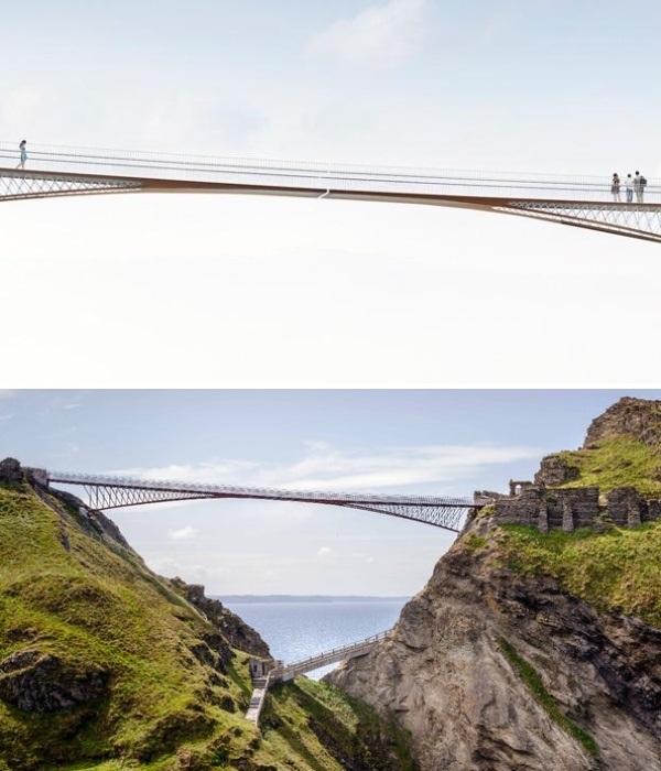 Над 60-метровой пропастью проложили пешеходный мост с зазором посередине (Корнуолл, Великобритания). | Фото: home.bt.com.