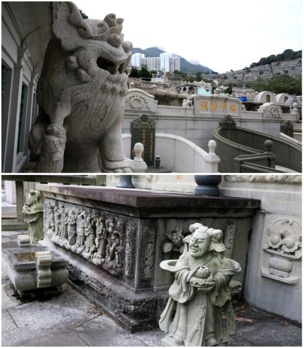 Большинство могил, усыпальниц и мавзолеев щедро украшены мраморными статуэтками или барельефами (Абердинское национальное кладбище, Гонконг). | Фото: livejournal.com.
