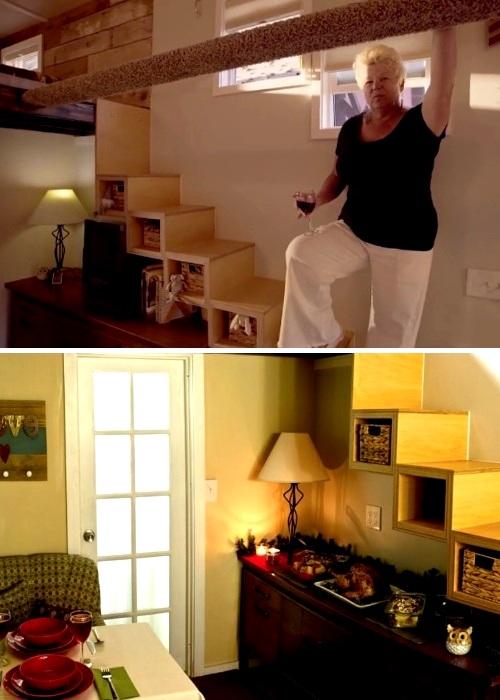 Практичную и вместительную конструкцию лестницы женщина сделала сама (My Empty Nest»).   Фото: nastroy.net.