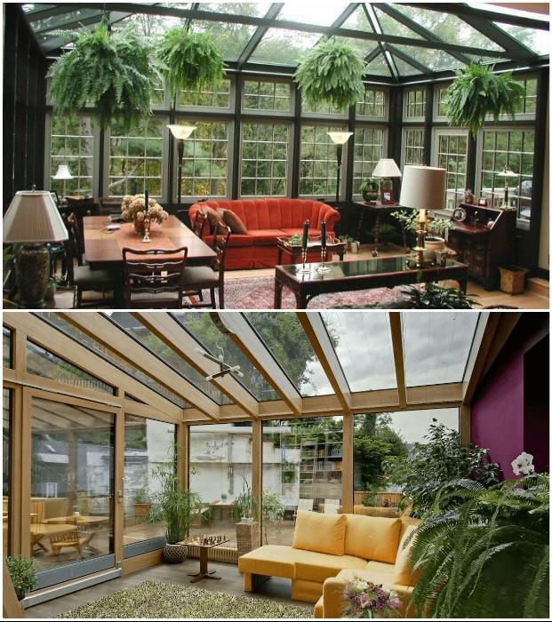 Стеклянная веранда, пристроенная к дому – это идеальное место для отдыха в собственной оранжерее.
