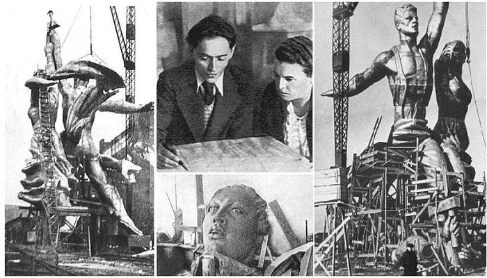 Концепцию архитектора Б.М. Иофана воплотила в жизнь Вера Мухина с командой инженеров и рабочих завода ЦНИИТМАШ (1937 год).