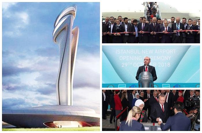 Глава Турции Реджеп Тайип Эрдоган открывает новый аэропорт «Стамбул».