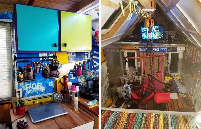 В интерьере крошечного домика очень много ярких вещей и предметов. | Фото: thetinyhousethatgrandmabuilt.blogspot.com.