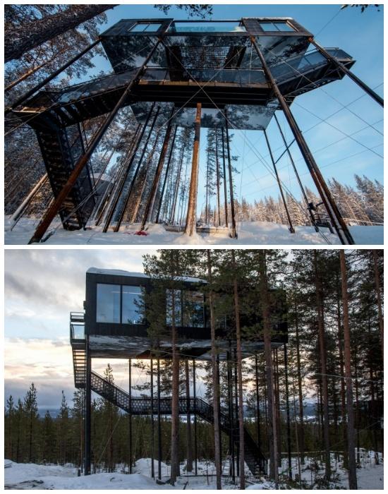 Огромные панорамные окна и обожженная сосна фасада «The 7th room» идеально гармонирует с окружающей природой (отель Treehotel, Швеция). | Фото: archi.ru.