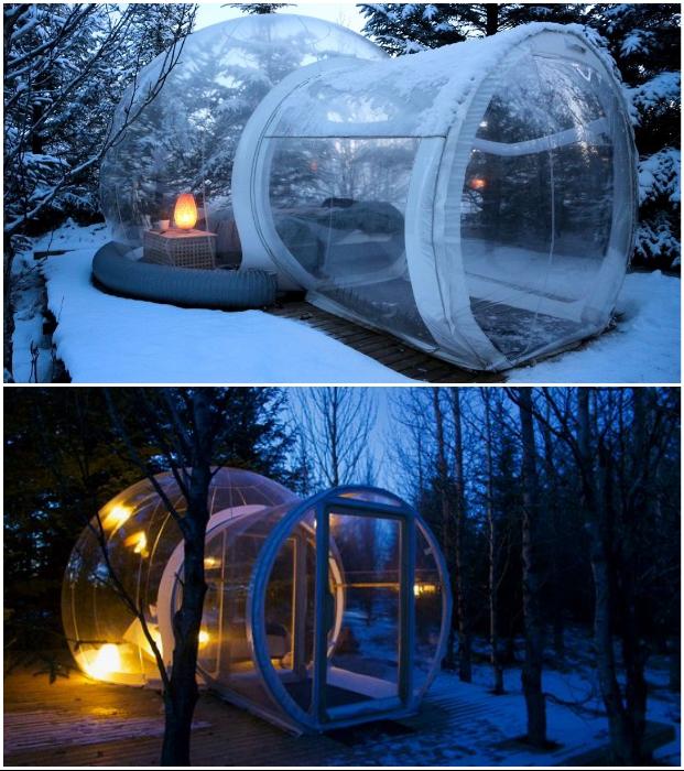 В прозрачных номерах можно находиться в любую погоду и даже суровой зимой («Bubble Hotel», Исландия). | Фото: factsinter.com/ doverie-omsk.ru.