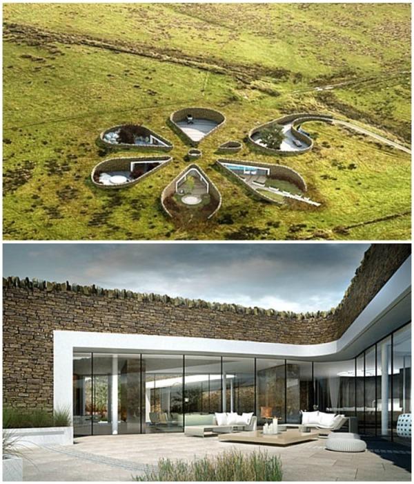 Уникальные подземные апартаменты Bolton Eco House расположены на склоне Пенинской горы (Великобритания). | Фото: designerdreamhomes.ru.