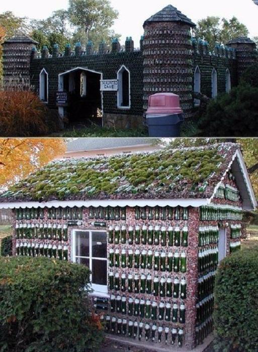 Такие дома создают из стеклянных бутылок.