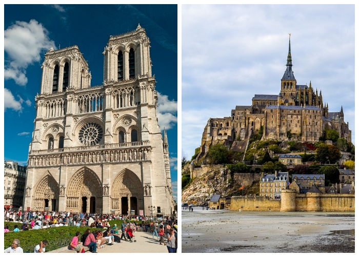 Шедевры средневековья вызывают восхищение и удивление до сих пор ( Notre-Dame de Paris, Mont-Saint-Michel).