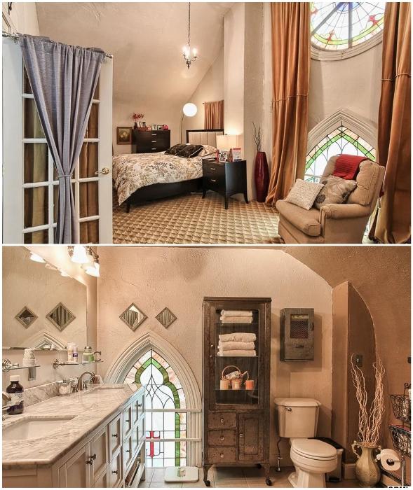Спальня владельца дома находится рядом с роскошной ванной комнатой, в которых сохранились старинные витражи («Часовня мира», Гаррисберг).