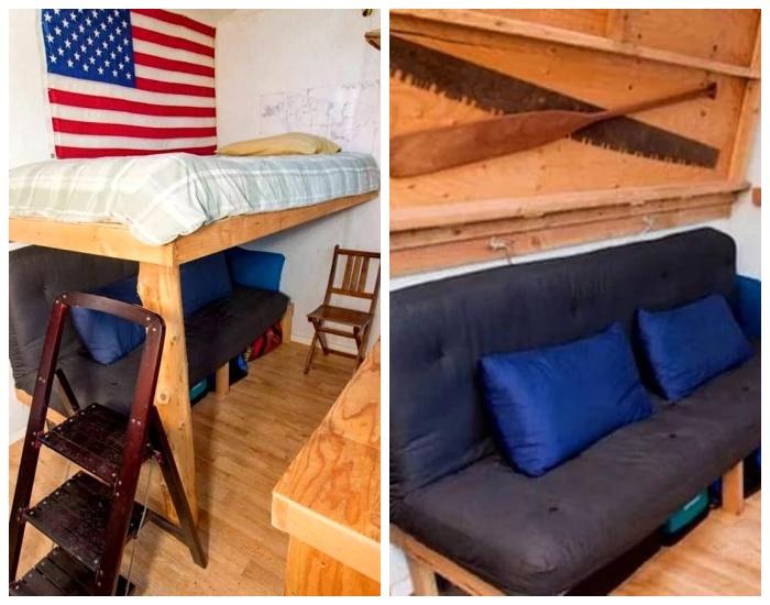 Благодаря грамотной планировке удалось организовать и спальное место, и уютную гостиную («Крошечный дом-трансформер»). | Фото: toptales.cc.