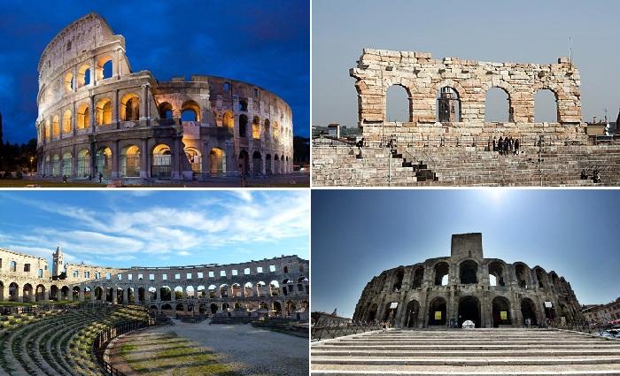 Четыре величественных амфитеатра — Коллизей, Верона, Пуле, Арле.