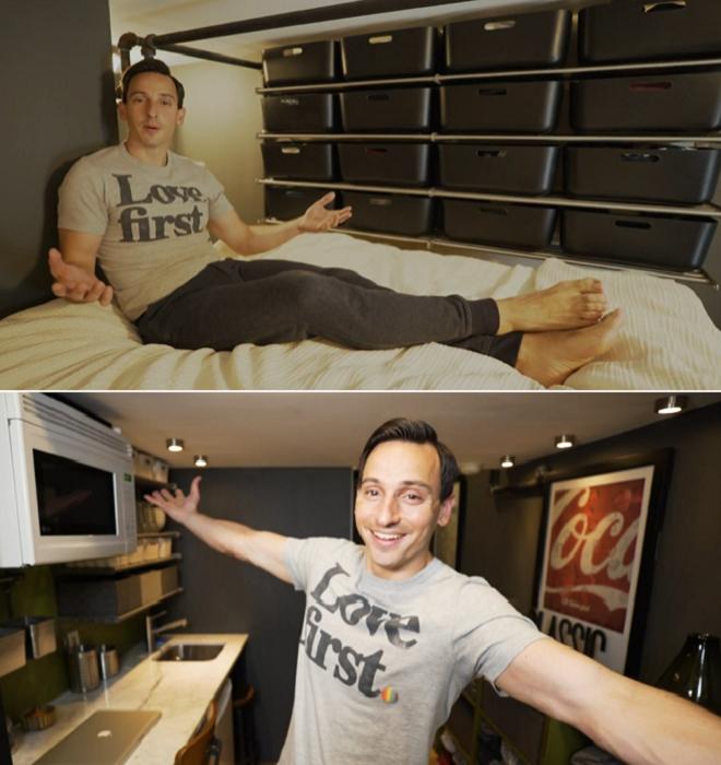 Американский актер Энтони Триоло показал, как на 14 кв. м. можно обустроить полноценное жилье. | Фото: aol.com/ © AOL.COM EDITORS.