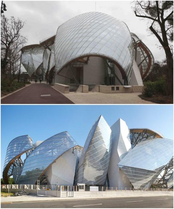 12 «парусов» созданных из стекла, стали и дерева украшают фасад здания (Fondation Louis Vuitton). | Фото: fotoparis.livejournal.com.