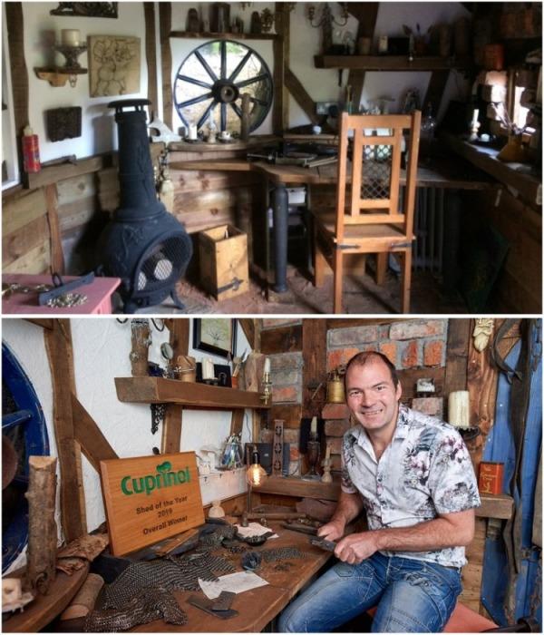 Свою «Нору хоббитта» Крис использует как мастерскую, в которой занимается созданием доспехов для реконструкций («Нора хоббита», Великобритания). | Фото: housebeautiful.com.