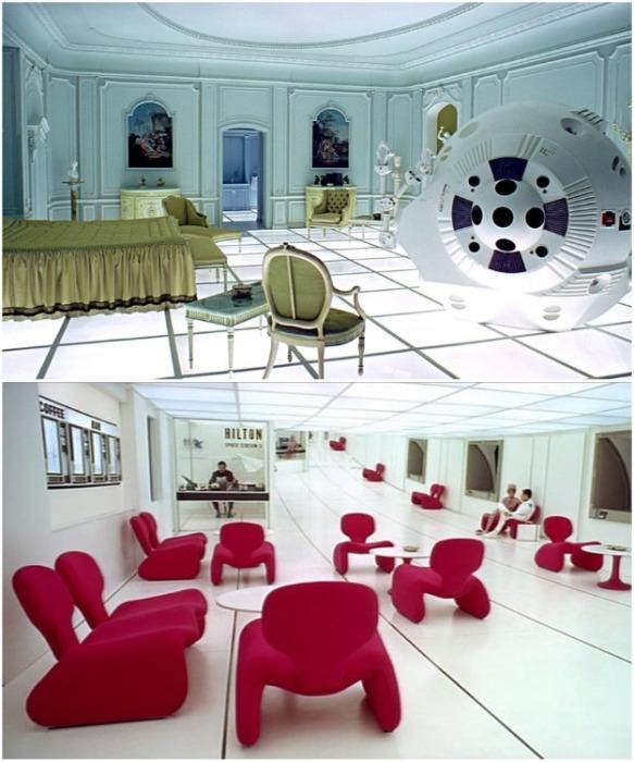 Фильмы могут оказать влияние на моду, архитектуру, дизайн мебели и мировую культуру (фрагменты фильма «Космическая одиссея 2001 года»). | Фото: productiondesignerscollective.org.