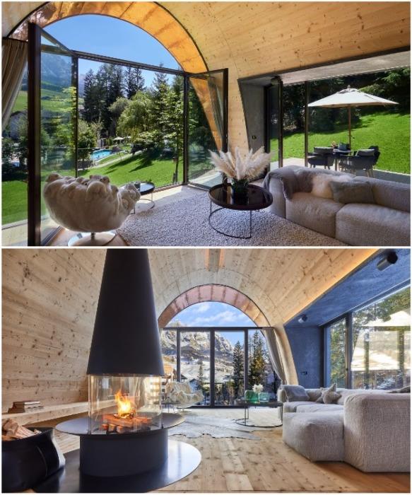 Благодаря открытой планировке гостиная получилась довольно просторной (курорт La Villa, Mi Chalet). | Фото: greenpearls.com/ © Luca Visciani.