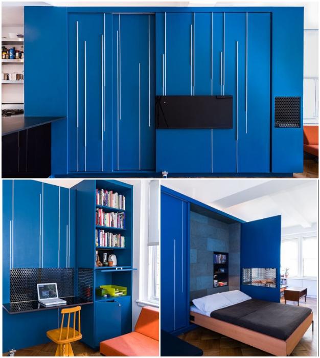 Благодаря трансформации, из 37 кв. м удалось обустроить полноценную квартиру (Манхэттен).