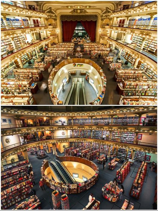 Вместо зрительного зала, рассчитанного на 1100 посетителей, установлены книжные полки («El Ateneo Grand Splendid», Аргентина).   Фото: tlasobscura.com.