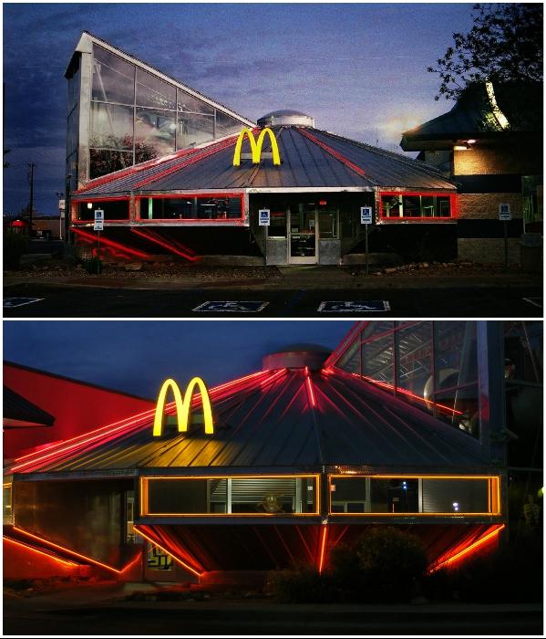 Ресторан McDonald's в виде летающей тарелки в городе Розуэлл, в штате Нью-Мексико (США). | Фото: twitter.com @ KatieOldham.