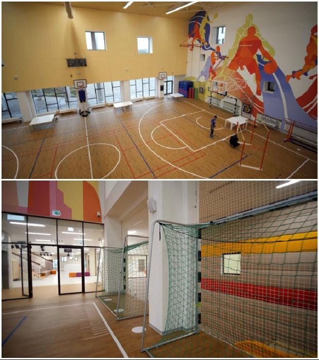 В школе действуют два спортзала с разнообразными площадками («Точка будущего», Иркутск).