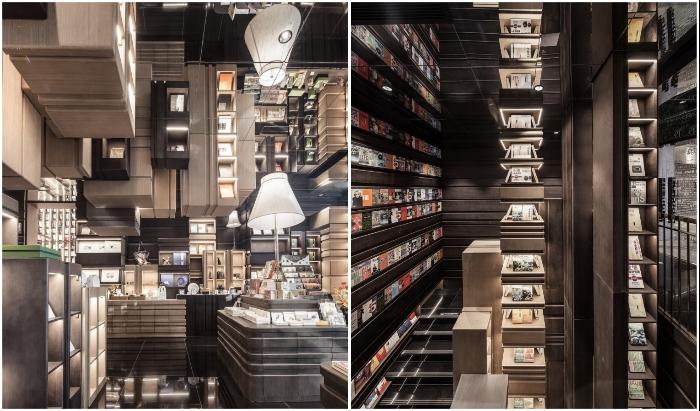 Из-за зеркальных поверхностей сложно определить объем пространства и где установлены стеллажи (Zhongshuge Bookstore, Нинбо). | Фото: newatlas.com.