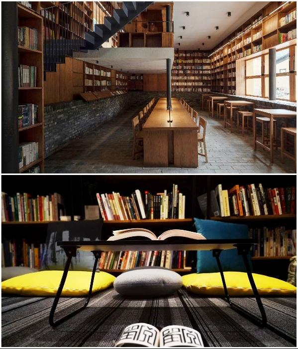 В отеле-библиотеке все свободное пространство занято книгами («Liuyue Capsule Hotel», Китай). | Фото: worldarchitecture.org.