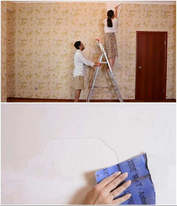Подготовка стен к преобразованиям. | Фото: youtube.com/ © Fancy smth.