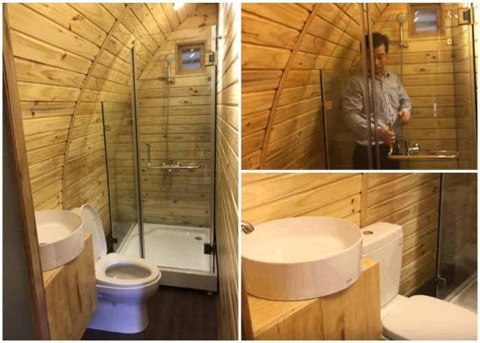 Полноценная ванная делает домик-бочку комфортным жильем. | Фото: zentado.com.