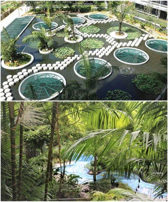 В жилом комплексе установлены системы, позволяющие повторное использование воды для полива многочисленных насаждений («Interlace», Сингапур). | Фото: propertyguru.com.sg.