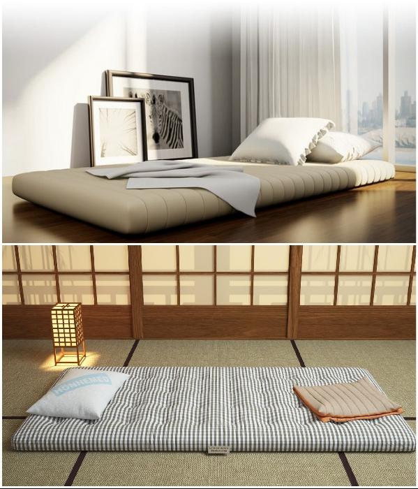 Нескольких подушек и матраса – вполне достаточно для организации зоны сна японца. | Фото: matrasum.ru/ on2architects.com.