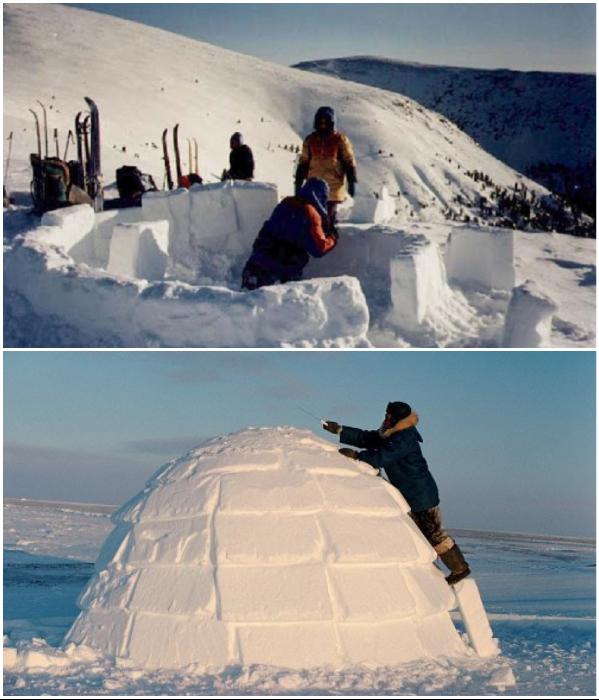 Обычный человек не сможет построить иглу самостоятельно, этому мастерству эскимосы учатся всю жизнь. | Фото: dead-v-life.ru/ bolshoyvopros.ru.