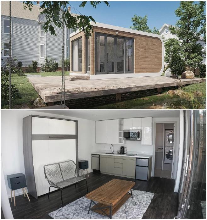 Модуль Mighty Studio имеет площадь 32,5 кв. м, на которой полностью оборудована многофункциональная гостиная и кухня-столовая. | Фото: cal.mixmax.com © Mighty Building.