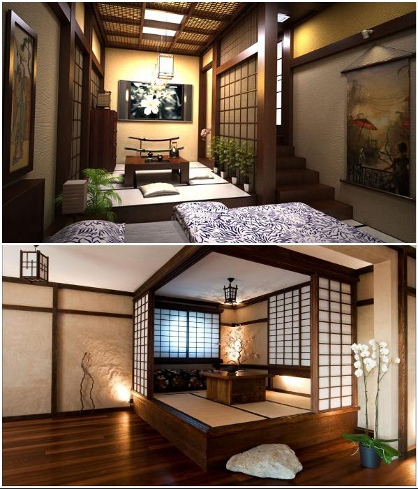 Подиум в японском доме – главная конструкция для зонирования и организации скрытых систем хранения. | Фото: pinterest.ru/ mug-naprokat.ru.