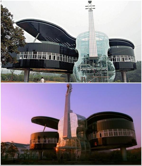 Архитектурное чудо, состоящее из двух музыкальных инструментов гигантских размеров. | Фото: unusualplaces.org/ bambooclub.ru.