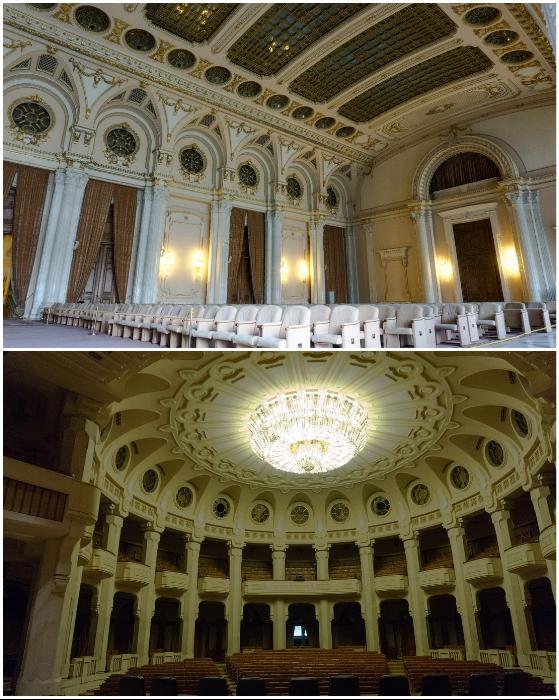Во дворце имеется несколько залов заседаний площадью от 1 тыс. кв. м (Palatul Parlamentului, Бухарест).
