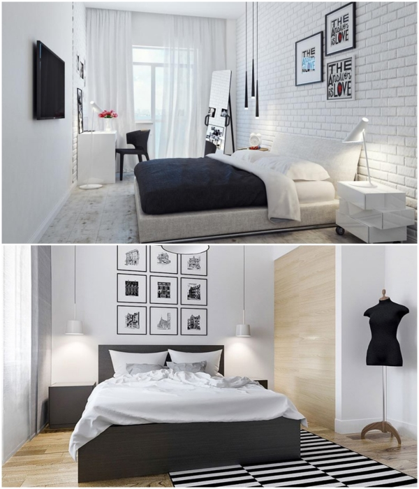 Белый фон комнаты сделает пространство более нежным, а вот черный акцент добавит глубины и стиля. | Фото: best-stroy.ru/ autogear.ru.