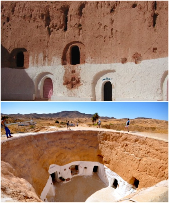Теперь в пещерных поселениях организовали отели для любителей неординарного отдыха (Матмата, Тунис). footage.framepool.com.
