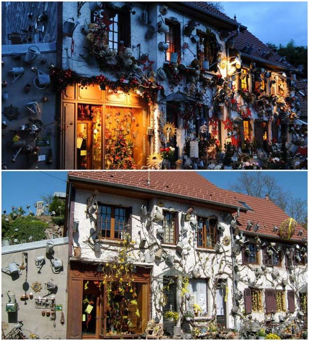 На фасадах, заборах и холме уже не осталось пустого места («L'arroisoir», Франция). | Фото: vinegred.ru.