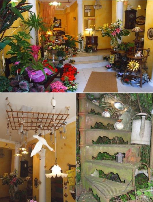 Интерьер цветочного магазина под стать его экстерьеру («L'arroisoir», Ружмон-ле-Шато). | Фото: mesvisites.canalblog.com.