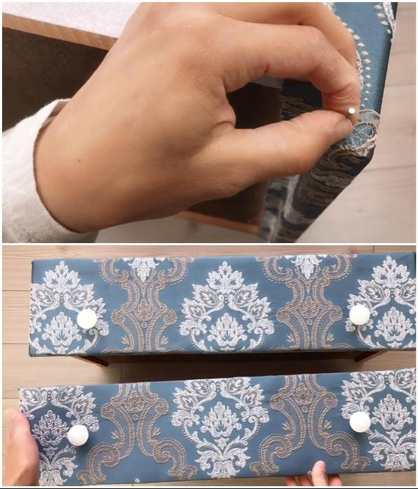 Для надежности закрепить уголки ткани гвоздями и можно устанавливать фурнитуру. | Фото: youtube.com/ © SULTANIN OYUNCAK ATOLYESI.