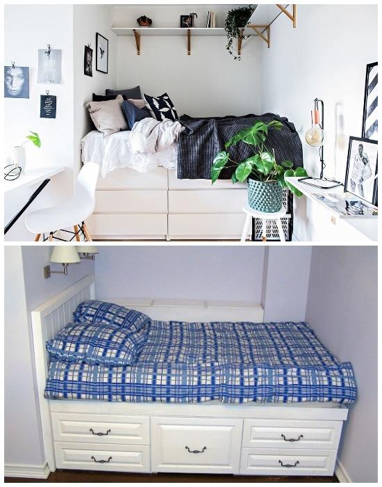 Вариант установки кровати в нише с выдвижными ящиками.