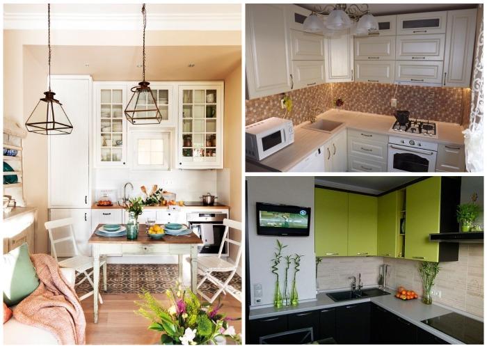 Интересные варианты навесных шкафов для маленькой кухни.
